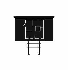 Project of house on a board icon simple style vector