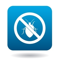 No bug sign icon in simple style vector