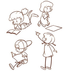 A simple sketch of students reading and writing vector image
