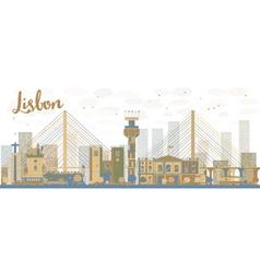 Abstract lisbon city skyline vector