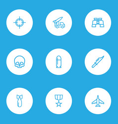 army outline icons set collection of cranium vector image vector image