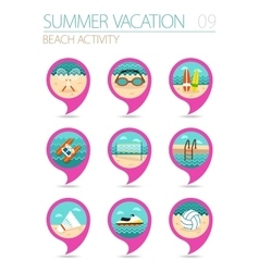 Beach activity pin map icon set Summer Vacation vector image