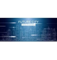 Big city with neon skyscrapers vector