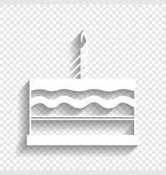 Birthday cake sign white icon with soft vector
