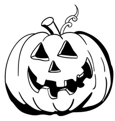Black and white halloween pumpkin vector