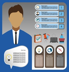 Business elements infographic with person ship and vector