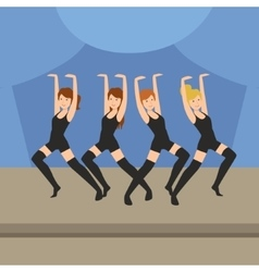 Cabaret style dance show on stage vector