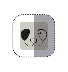 Colorful face sticker of panda face in square vector