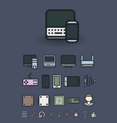 computer and mobile technologies icons set vector image