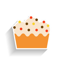 cupcake with whipped cream flat color icon vector image