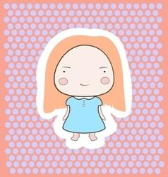 Cute happy smiling peach hair cartoon baby girl vector