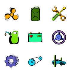 Driving icons set cartoon style vector