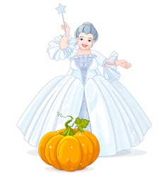 Fairy godmother making magic pumpkin carriage vector