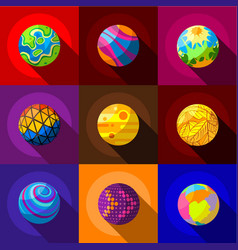 Fantastic planets icons set flat style vector