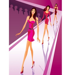 Fashion models at a fashion review vector image vector image