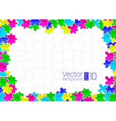 Frame from scattered colored flat puzzles vector