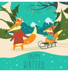 Funny foxes sledding vector image