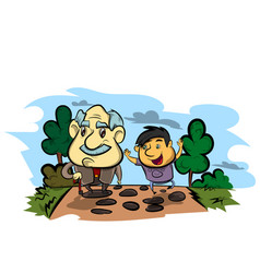grandfather and child vector image