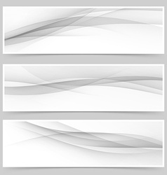 Grey soft line web header collection vector