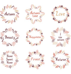 hand drawn set of autumn mandalas with vector image vector image