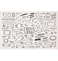 Hand drawn sketch elements vector image