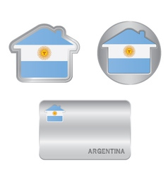 Home icon on the Argentina flag vector image vector image