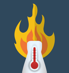 Hot thermometer fire weather concept vector