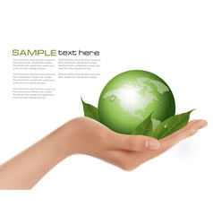 human hand holding green globe vector image vector image
