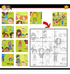 jigsaw puzzle activity with kids vector image vector image