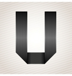Letter metal ribbon - U vector image