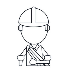 Man building construction plans helmet thin line vector
