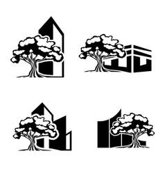 Oak tree realty logo set vector