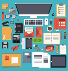 office desk stationery flat object vector image vector image