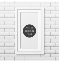 Realistic white frame on the brick wall background vector image