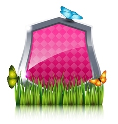 Red shield with flying butterflies by the grass vector