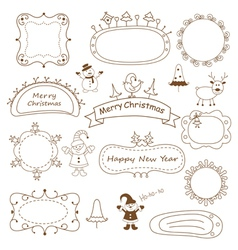 Set of doodle Christmas frames vector image vector image