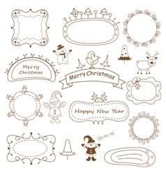 Set of doodle Christmas frames vector image vector image