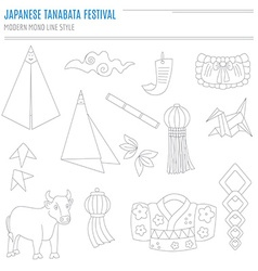 Set of japanese bon festival attributes vector