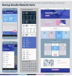 Startup Bundle Material Serie Mobile App UI and vector image vector image