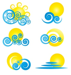 Sun and water clouds vector