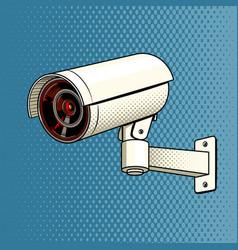 surveillance camera on the wall pop art vector image vector image