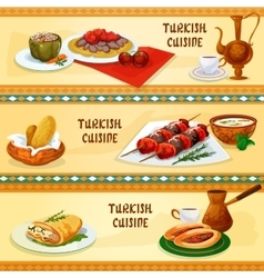 Turkish cuisine banners for restaurant menu design vector