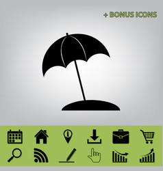 Umbrella and sun lounger sign black icon vector