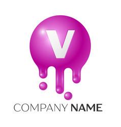 V letter splash logo purple dots and bubbles vector