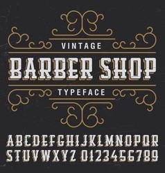 Vintage barber shop typeface poster vector