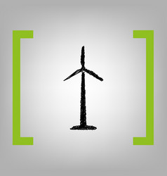 Wind turbine logo or sign black scribble vector