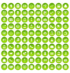 100 business woman icons set green circle vector