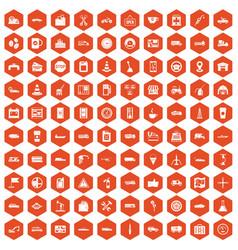 100 gas station icons hexagon orange vector