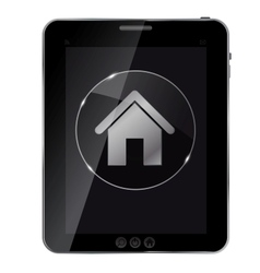Glass home button icon on abstract tablet vector