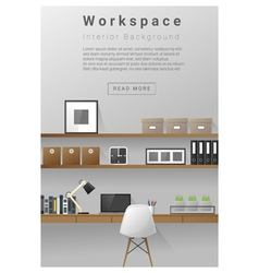 Interior design modern workspace banner 4 vector